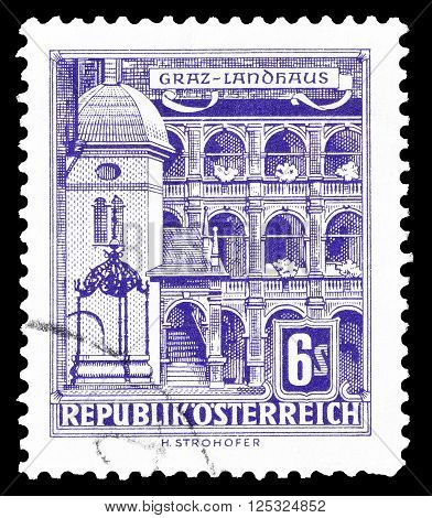 AUSTRIA - CIRCA 1960:  Cancelled postage stamp printed by Austria, that shows County seat in Graz.