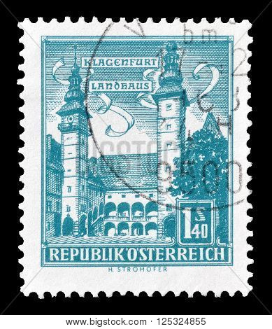 AUSTRIA - CIRCA 1960:  Cancelled postage stamp printed by Austria, that shows County seat in Klagenfurt.