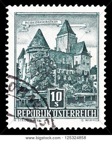 AUSTRIA - CIRCA 1960:  Cancelled postage stamp printed by Austria, that shows Heidenreichstein Castle.