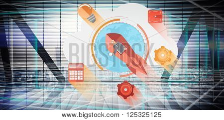 start up business graphic against abstract technology background