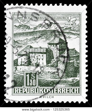 AUSTRIA - CIRCA 1967 :  Cancelled postage stamp printed by Austria, that shows Schatten castle.