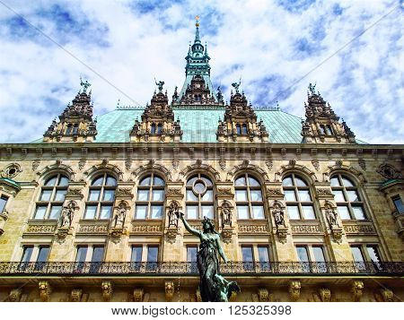 Close-up of Hamburg city hall - Rathaus. Germany