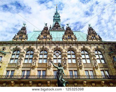 Close-up of Hamburg city hall - Rathaus. Germany