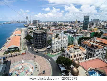 Aerial View of Marco Zero Square, Recife, Brazil