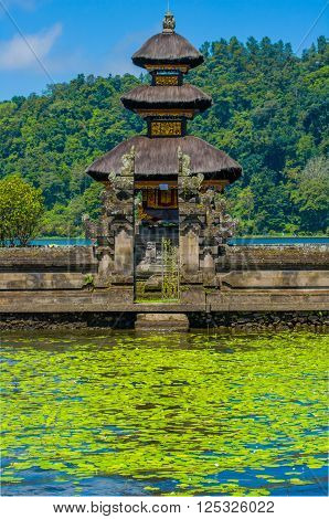 Floating temple or Pura Ulun Danu temple on a lake Beratan. Bali Indonesia