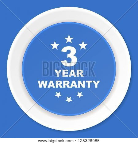 warranty guarantee 3 year blue flat design modern web icon
