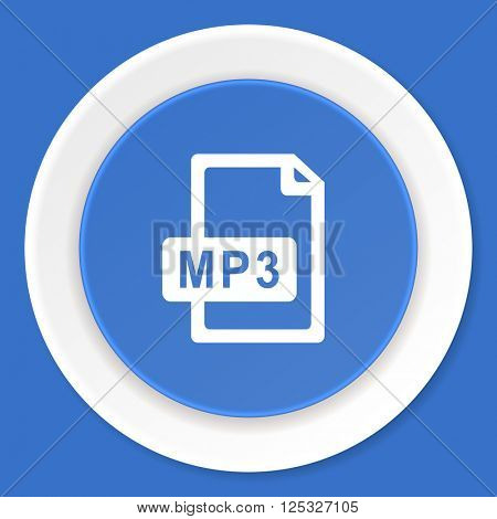 mp3 file blue flat design modern web icon