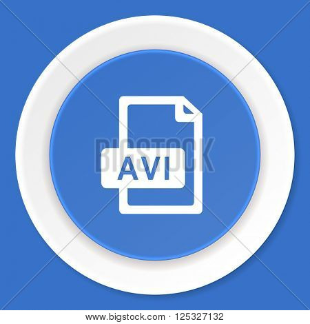 avi file blue flat design modern web icon