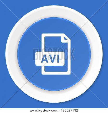 avi file blue flat design modern web icon
