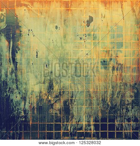 Vintage style background with ancient grunge elements. Aged texture with different color patterns: yellow (beige); green; red (orange); black; gray