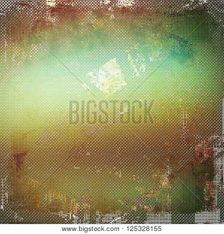 Vintage elegant background, creased grunge backdrop with aged texture and different color patterns: yellow (beige); brown; green; gray; cyan