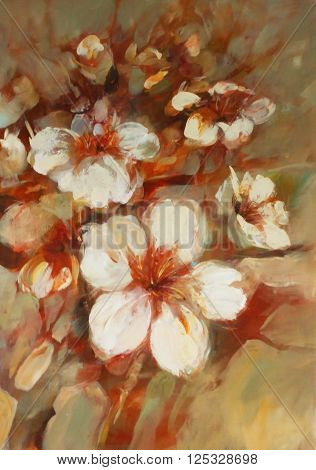almonds blossom handmade oil painting on canvas