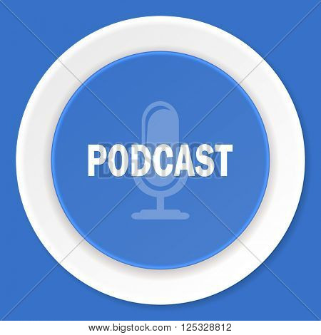 podcast blue flat design modern web icon