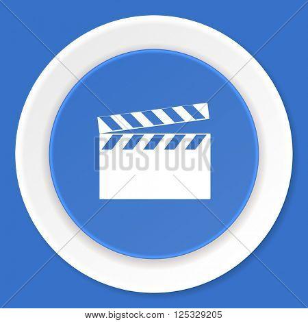 video blue flat design modern web icon