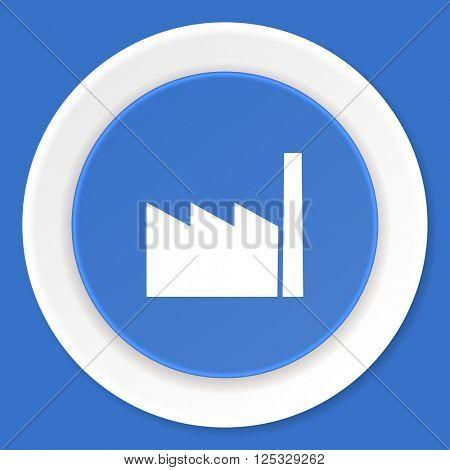 factory blue flat design modern web icon