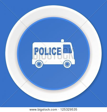police blue flat design modern web icon