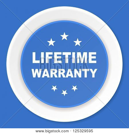 lifetime warranty blue flat design modern web icon
