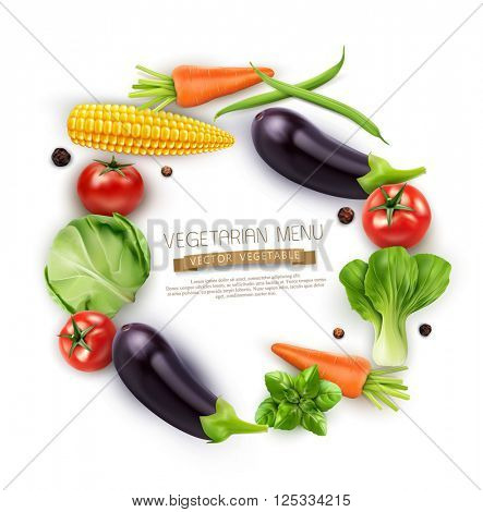 vector background with vegetables in a circle (tomato, cabbage, eggplant, peppers, corn, beans, carrots) isolated on white background