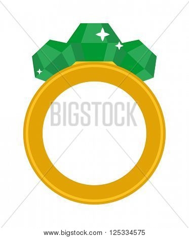 Precious ring with stone colored gems isolated on white background.