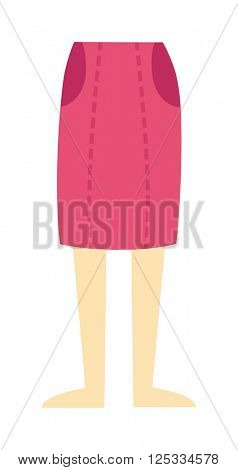 abstract pattern fashion female skirt model young clothes cartoon flat vector.