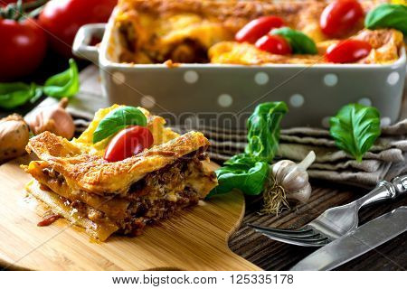 Tasty Lasagna  On Vintage Wooden Background