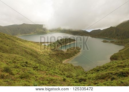 Azores landscape of Sao Miguel Island volcanic lake