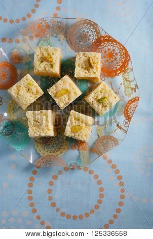 Mysore pak - an Indian sweet made with gram floor, ghee and sugar.