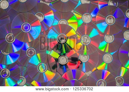 Many Cds Laid Flat Forming A Layer