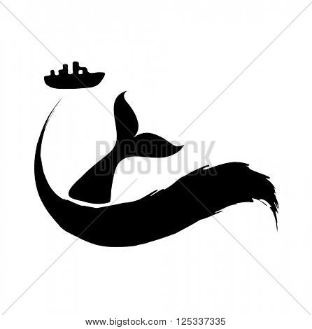 Fishing ship and fish tail or oil spill from tanker. Vector illustration.