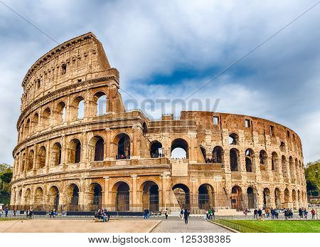 View over the iconic Flavian Amphitheatre aka Colosseum in Rome Italy