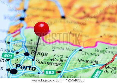 Guimaraes pinned on a map of Portugal