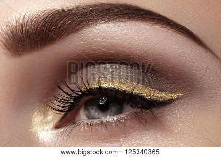 Beautiful macro shot of female eye with ceremonial makeup. Perfect shape of eyebrows, eyeliner and pretty gold line on eyelid. Cosmetics and make-up. Closeup macro shot of fashion sparcle visage