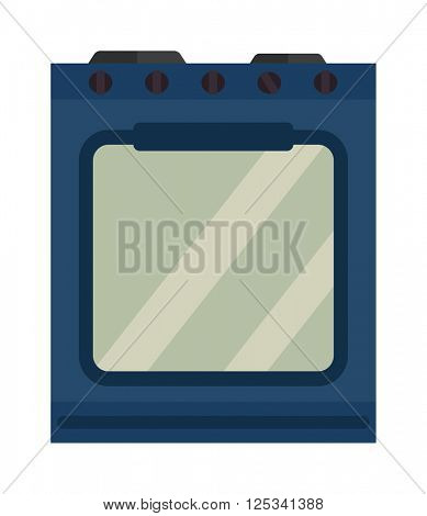 Blue kitchen stove appliance home cooking interior domestic stainless metal equipment flat vector illustration.
