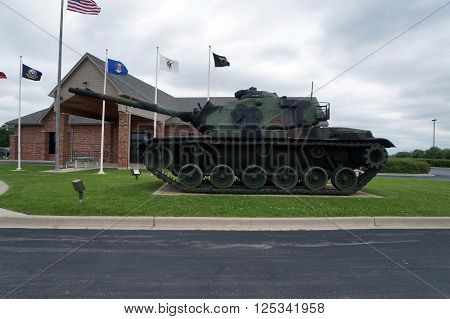 JOLIET, ILLINOIS / UNITED STATES - MAY 31, 2015: A military war tank is on display outside the Stone City Veterans of Foreign Wars Building, Post 2199.