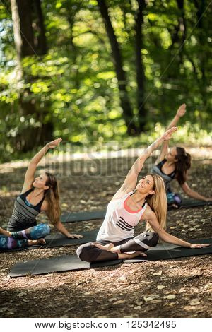 Pretty youngsters group practice yoga in tranquility of nature
