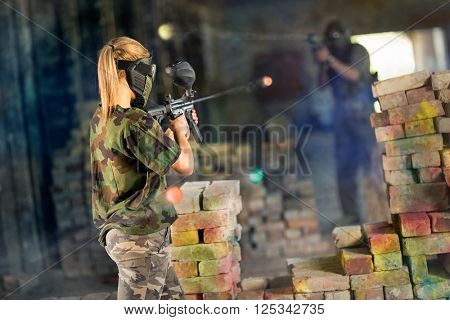 Shooter behind fortification during shootout