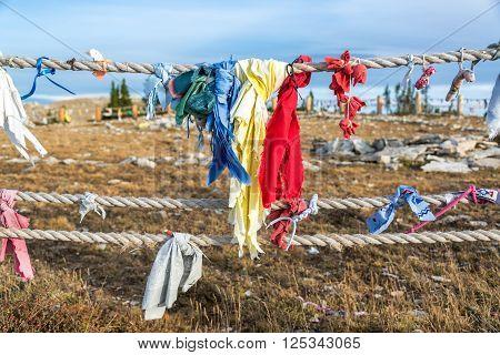 Colorful Cloths At Medicine Wheel