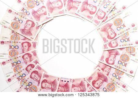 china money 100 bank note background, isolated and white background
