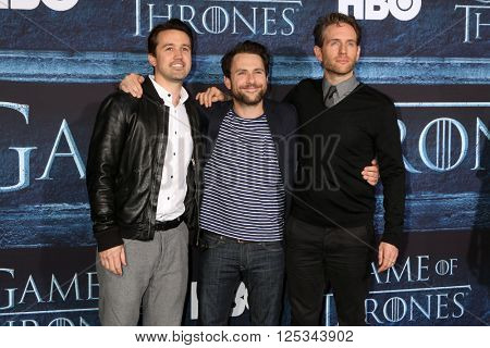 LOS ANGELES - APR 10:  Charlie Day, Rob McElhenney, Glenn Howerton at the Game of Thrones Season 6 Premiere Screening at the TCL Chinese Theater IMAX on April 10, 2016 in Los Angeles, CA