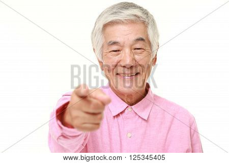 portrait of senior Japanese man decided on white background