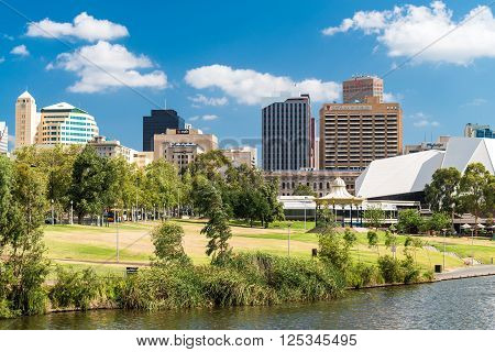 Adelaide Australia - January 3 2016: Adelaide city skyline viewed across the Elder Park on a bright day
