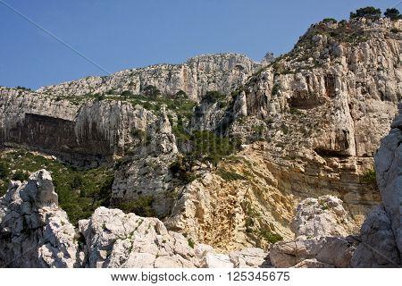 The cliffs above the Mediterranean Sea near Cassis, France