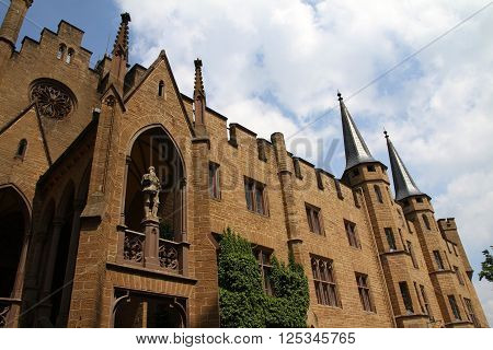 Hohenzollern, Germany - May 22, 2015: View of the Hohenzollern Castle (Burg Hohenzollern) inside the Black Forest, near Stuttgart, Germany. Hohenzollern Castle it is located atop Berg Hohenzollern.