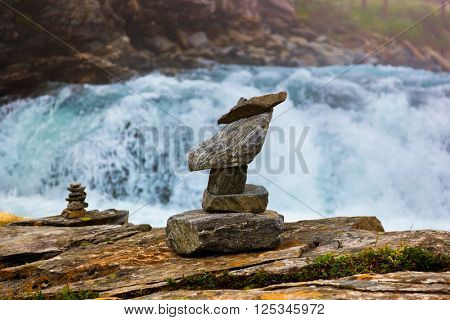 Stigfossen waterfall and viewpoint in Norway - nature and travel background