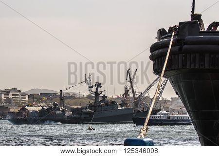 anti-submarine ship of a naval parade in Vladivostok