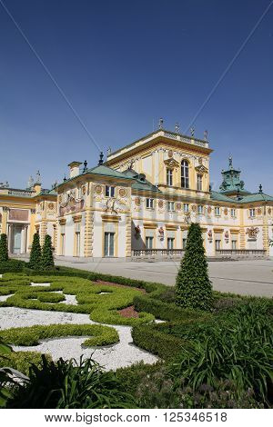 Warsaw, Poland - May 12, 2015: Wilanow Palace is a royal palace located in Warsaw, Poland. It survived to both wars and so its one of the Poland's most important monuments. The style is baroque and it was built  in the last quarter of the 17th century. Th
