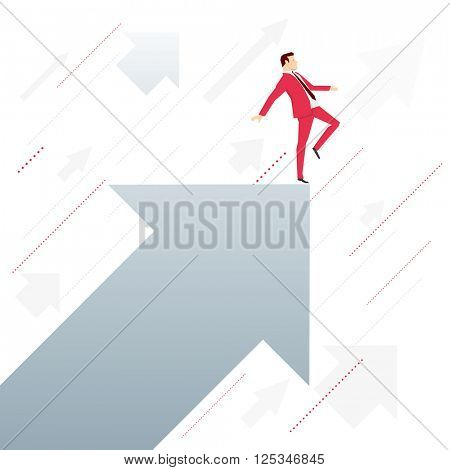 Red suit businessman standing on arrow like an acrobat. Vector concept illustration.