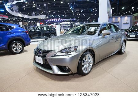 BANGKOK - MARCH 22: Lexus IS 300h car on display at The 37 th Thailand Bangkok International Motor Show on March 22 2016 in Bangkok Thailand.