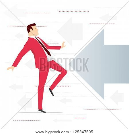 Red suit businessman and potential threat. Vector concept illustration.