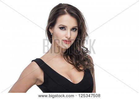Sexy brunette woman posing on white background